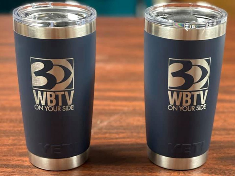 WBTV Laser-Engraved YETI Travel Mugs, produced by Main Ave Promo