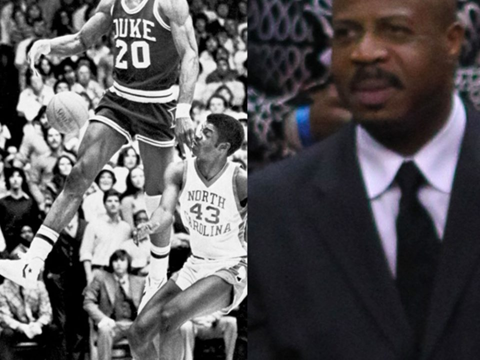 Gene Banks during his playing days at Duke University alongside a modern-day photo