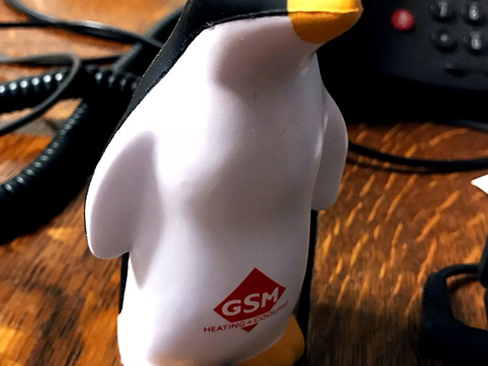 A squeezy penguin with corporate logo imprint.